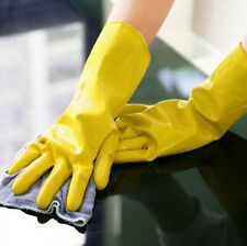 Rubber Waterproof Laundry Protective Orange Gloves Dishwashing Yellow Clean