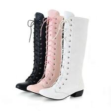 Womens lady lace up knight boots cosplay gothic knee high boots shoes Plus Size