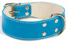 Doggy Things Bull Leather Dog Collar - Blue