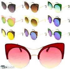 Women's Circle Round Lens Rockabilly Vintage Cat eye Sunglasses 50's Pin Up
