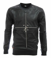 Imperious Men's Cross Zipper Faux Leather Long Sleeve Pullover Shirt