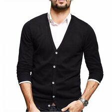 Mens Casual Kintted Sweater V neck Long Sleeve Cardigan Cotton Solid MZ-9434.M