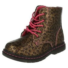 Infant Girls Spot On Funky Printed Lace Up/Zip Casual Ankle Boots H4109