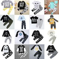 2pcs Newborn Toddler Infant Baby Boy Girl T-shirt Tops+Pants Outfits suit Set