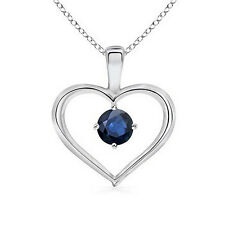 "Round Natural Blue Sapphire Heart Pendant Necklace 925 Sterling silver 18"" chain"