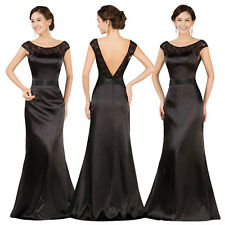 Formal Black Long Satin Evening Party Ball Gown Prom Wedding Bridesmaid Dress