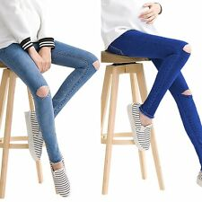 New Pregnant Women Maternity Leggings Over Bump Denim Skinny Pants Stretch Jeans