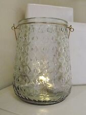 Glass Hurricane Vase With 30 Battery Operated Warm White LED  Lights 20 cm tall