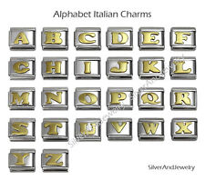 Italian Charms Letters Gold Alphabet 9mm Stainless Steel Bracelet Charms Link