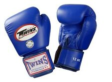 Twins Special Muay Thai Boxing Gloves Premium Leather w/ Velcro Blue BGVL3