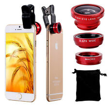 Universal 3in1 Clip On Camera Lens Kit Funny Wide Angle Fish Eye Macro Cool