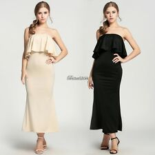 Fashion Womens Ladies Off Shoulder Ruffle Dress Sexy Maxi Long Party Dress BF9
