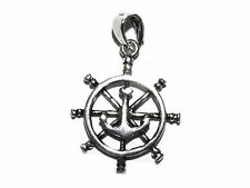 Genuine 925 Silver Ships Wheel & Anchor Charm - Pendant Bracelet Necklace Navy
