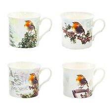 Boxed Set 4 Christmas Winter Robin Mugs Snow Scene 4 Assorted Palace Mugs. Best