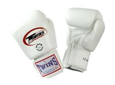 Twins Special Muay Thai Boxing Gloves Premium Leather w/ Velcro White BGVL3