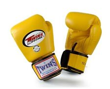Twins Special Muay Thai Boxing Gloves Premium Leather w/ Velcro Yellow BGVL3
