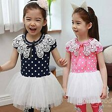 Saver Baby Girls Princess Dress Summer Dot Lace Collar Skirt. Free Delivery