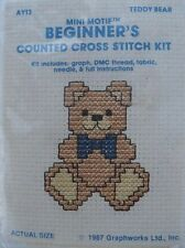 Teddy Bear - Mini Motif Counted Cross Stitch Kit - #AY13. Shipping is Free