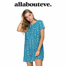 All About Eve Womens Neon Bliss Blue Mini Dress Shift Summer Stand Out Print