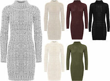 Womens Cable Knitted Dress Ladies Polo Turtle Neck Long Sleeve Bodycon Stretch