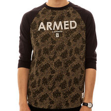 Crooks & Castles The Armed Knit 3/4 Sleeve T-shirt in Rain Camo with black sleev