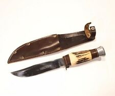 """Vintage J Nowill & Sons England Stag Handle Bowie Knife w/ Leather Sheath 9"""" L"""