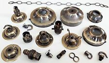 Brushed antique collection including lamp holders B22 and B15 ceiling roses hook