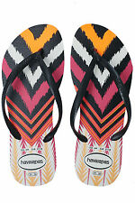 New HAVAIANAS Womens Slim Tribal Thong White Black Havaianas