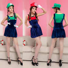 Ladies Super Mario Luigi Brothers Plumber Fancy Dress Up Party Clothes + Gloves