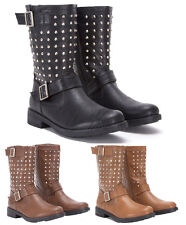 LADIES WOMENS STUD BUCKLE LEATHER PU MID CALF STUDDED BIKER BOOTS BLACK TAN SIZE