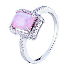 Square Fire Opal and CZ Pink Silver Ring Sterling 925 Women Jewelry Size 6 7 8 9