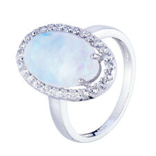 925 Sterling Silver Synthetic Blue Fire Opal and White CZ Oval Ring Size 6 7 8 9