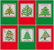 Set of 6 Cross Stitch Christmas Cards  - Designer Trees kit, includes 6 cards