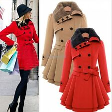 Women Wool Faux Fur Trench Parka Double-Breasted Coat Jacket Windbreaker GT56
