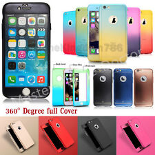 Hybrid Shockproof 360° Ultra Thin Case+Tempered Glass Guard For iPhone 5S/6S/7G