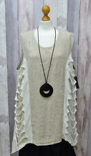 """lagenlook Sarah Santos made in Italy quirky sleeveless Top/tunic  Bust 50-56"""""""