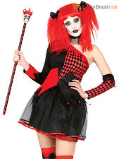 Ladies Harlequin Costume Adult Jester Joker Halloween Fancy Dress Horror Outfit