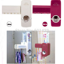 Wall Mounted Automatic Toothpaste Dispenser With Five Toothbrush Holder Set Bath