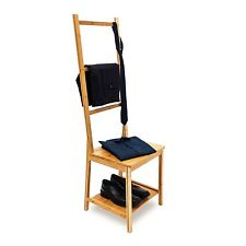 Relaxdays Bamboo Clothes Valet Chair 133 x 40 x 42 cm with 2 Shelves Wooden Clot