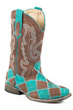 Roper Boots Kids Green Leather Brown Boys Patches Cowboy