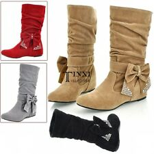Women Wedge Flat Shoes Mid Calf Boots Bowknot Faux Suede 5 Colors 4 Sizes TXSU