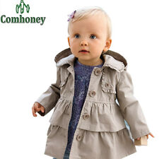18M - 5T Coat Girls Hooded Overcoat Parka Jackets Windbreaker Trench Outerwear