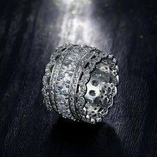 18K White Gold Plated Luxury Women Men Crystal CZ Finger Ring Wide Band Jewelry