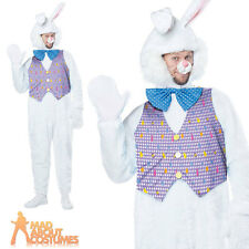 Adult Deluxe Easter Bunny Costume Mens White Rabbit Fancy Dress Outfit New