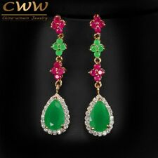 Natural Green Emerald And Red Ruby Crystal Stones 18k Gold Plated Elegant Dangli