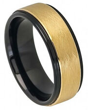 Tungsten Ring Wedding Band Two tone Black IP Yellow Gold Sandblasted Finish 8mm