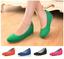 Womens Sweet Candy Slip on Boots Pumps Faux Suede Shoes MId Wedge Heel Cmfort