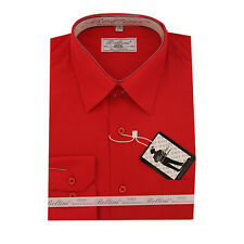Solid Mens Dress Shirt French Convertible Cuff Boltini Italy - Red