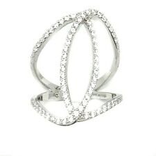 Women's Cubic Zirconia AAA Sterling Silver 925K Design Infinity Ring Size 6-7