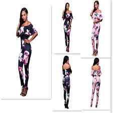 Sexy Women Ruffled Off Shoulder Floral Print Jumpsuit Vintage Romper Bodysuit